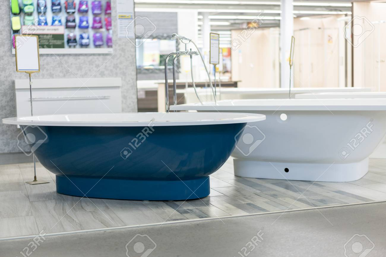 Blue Bath In The Store. Hite Bath In The Building Store. Baths ...