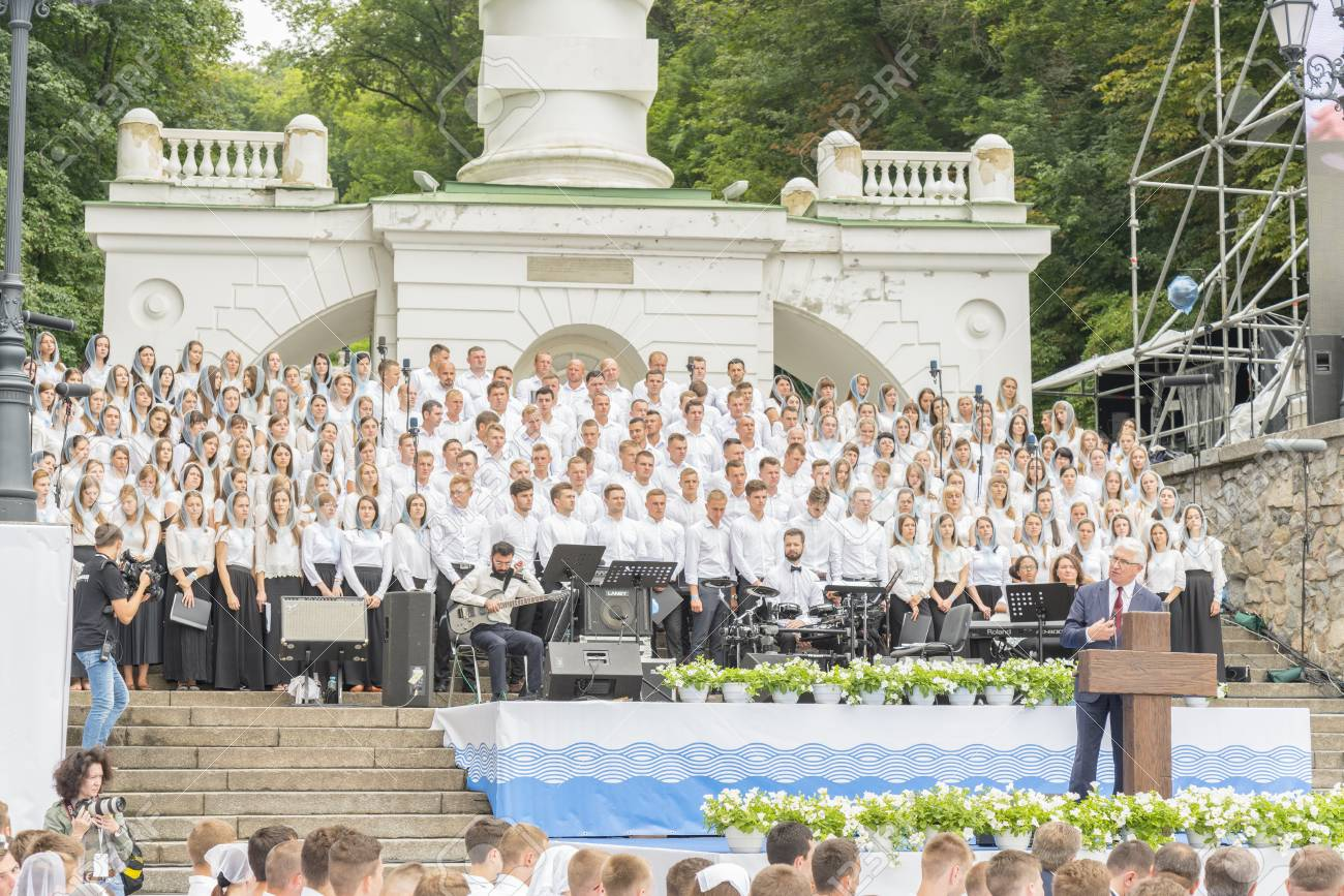 Kiev, Ukraine  July 22 2018 Christian choir of young men and