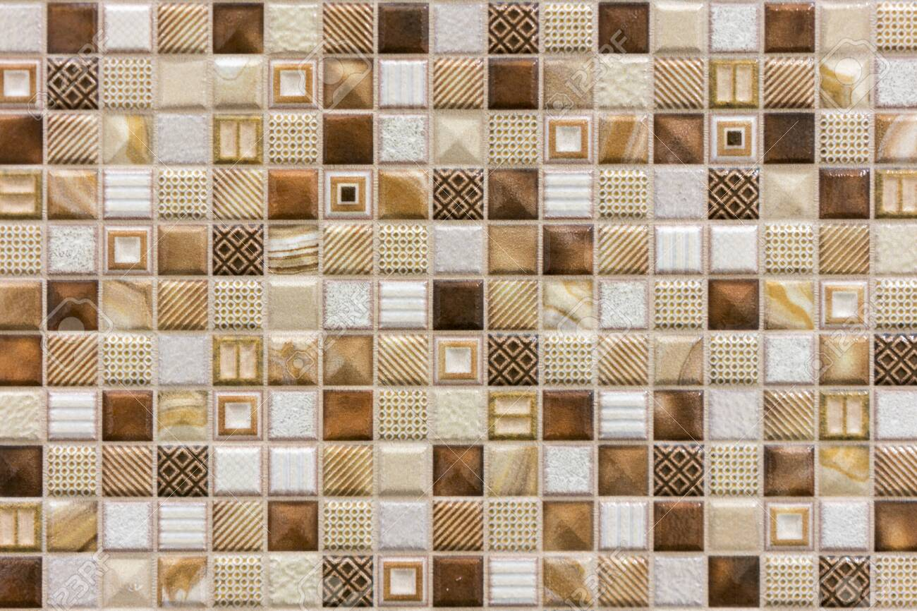 colorful ceramic mosaic tiles white cream light brown brown