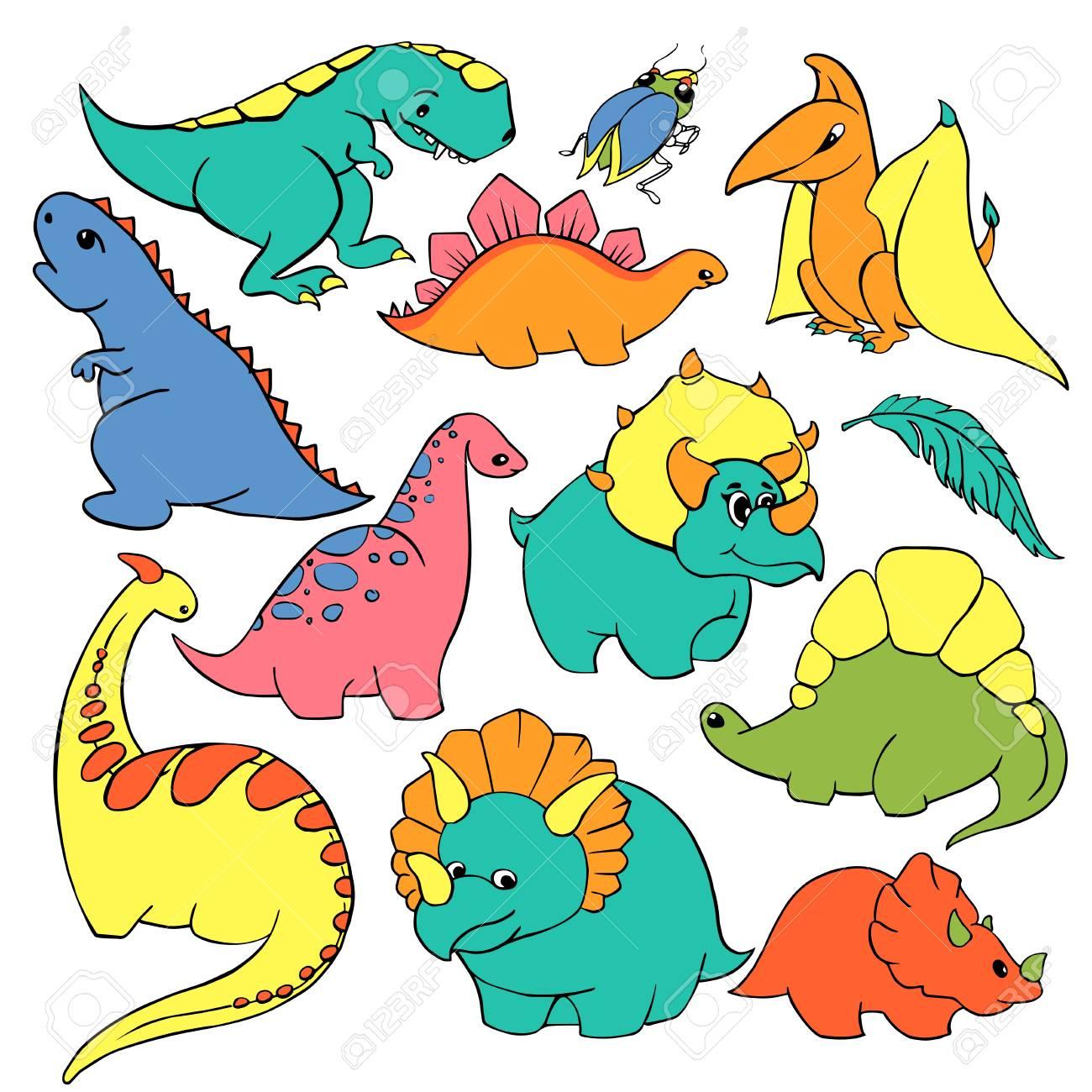 Big Set Of Twelve Elements Funny Kind Children S Cartoon Dinosaurs