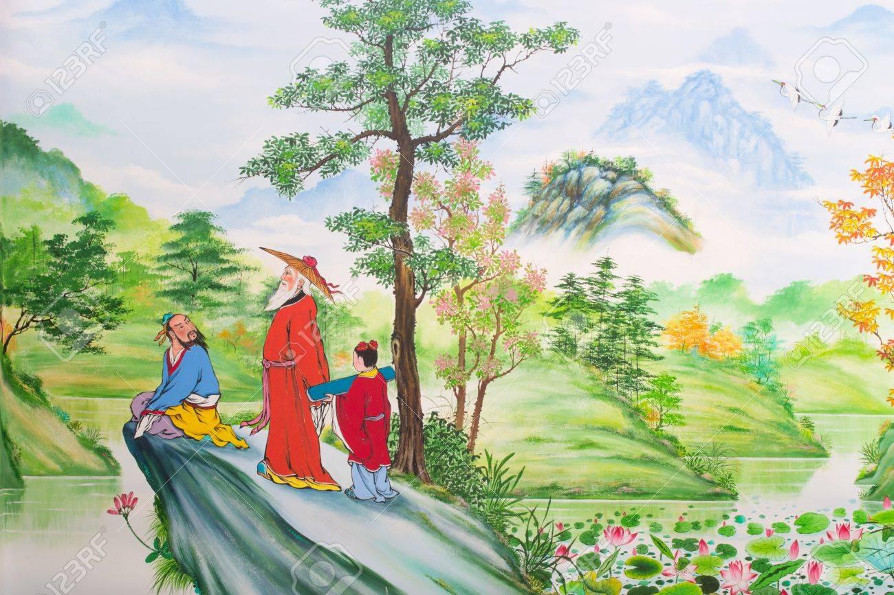 Chinesische Kunst An Den Wanden Des Chinesischen Tempel Loei Province Thailand Lizenzfreie Fotos Bilder Und Stock Fotografie Image 14740624