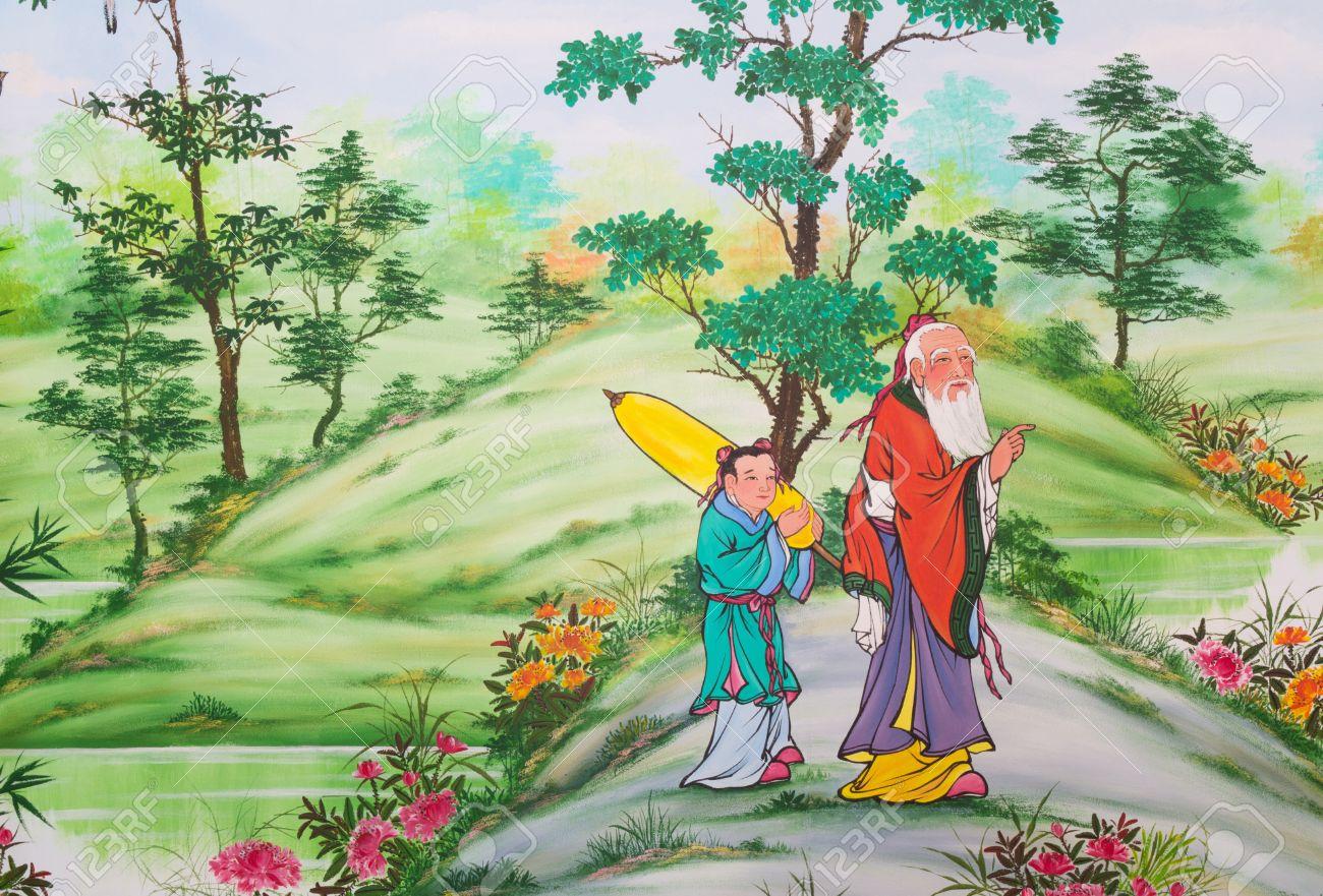 Chinesische Kunst An Den Wanden Des Chinesischen Tempel Loei Province Thailand Lizenzfreie Fotos Bilder Und Stock Fotografie Image 14740626
