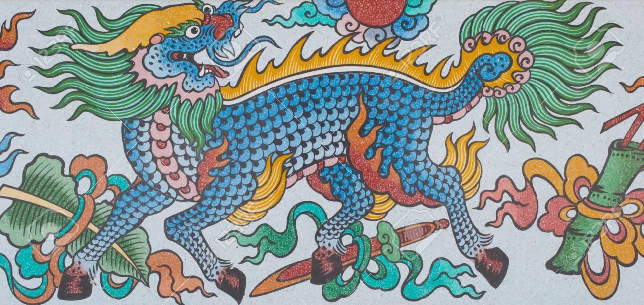 Chinesische Kunst An Den Wanden Des Chinesischen Tempel Loei Province Thailand Lizenzfreie Fotos Bilder Und Stock Fotografie Image 14740618