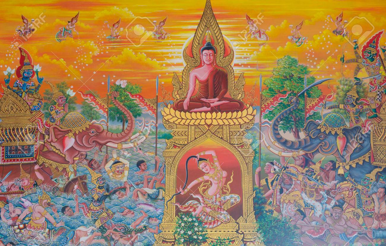 art thai mural mythology buddhist religion on wall in wat neramit art thai mural mythology buddhist religion on wall in wat neramit vipasama dansai