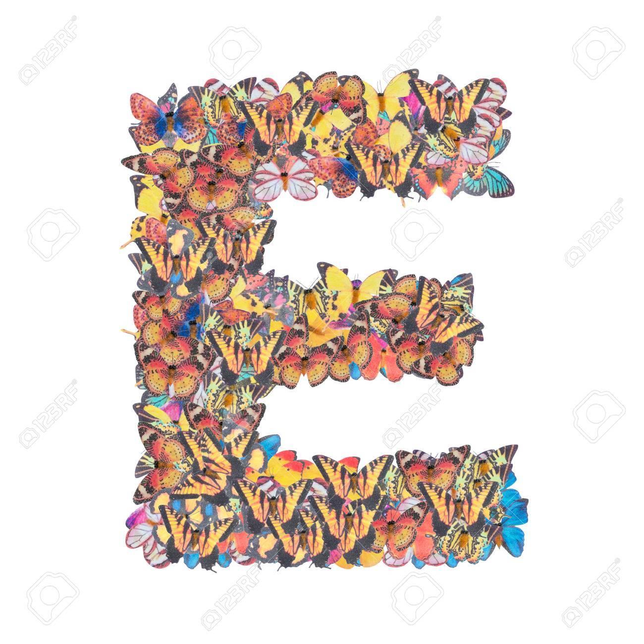 Letter e alphabet with butterfly abc concept type as logo isolated letter e alphabet with butterfly abc concept type as logo isolated on white background stock photo altavistaventures Images