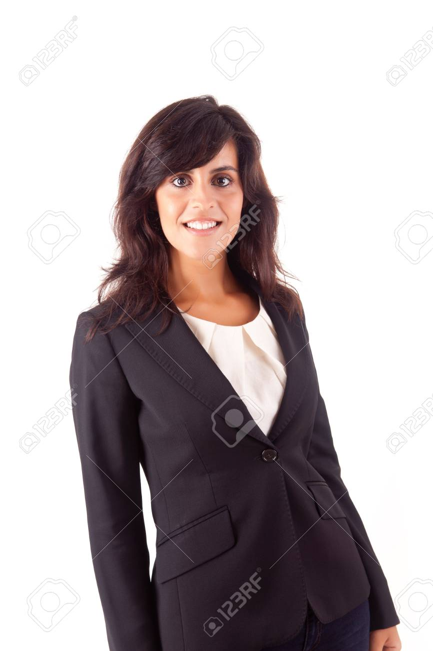 Beautiful business woman posing over white background Stock Photo - 16972066