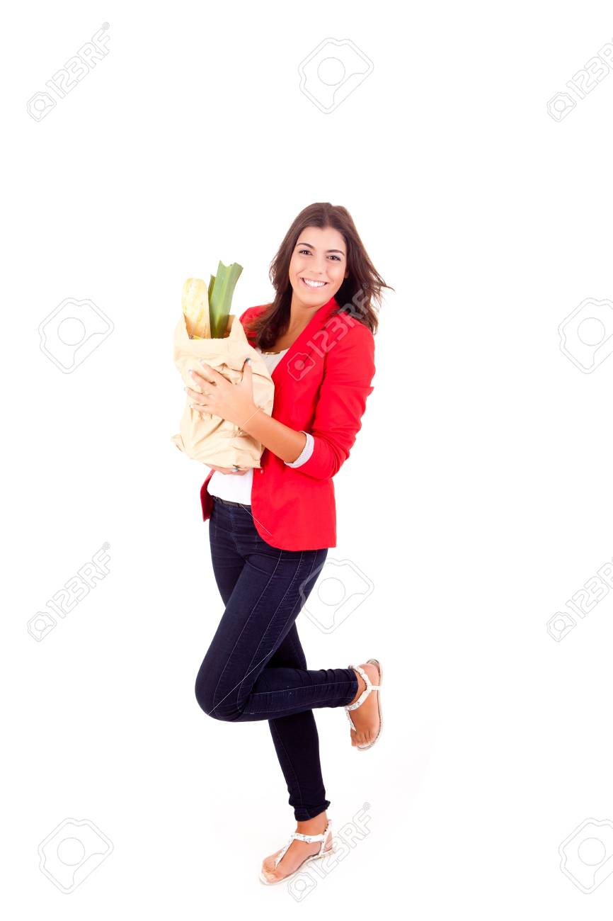 Young female holding a shopping bag on white background Stock Photo - 17148178