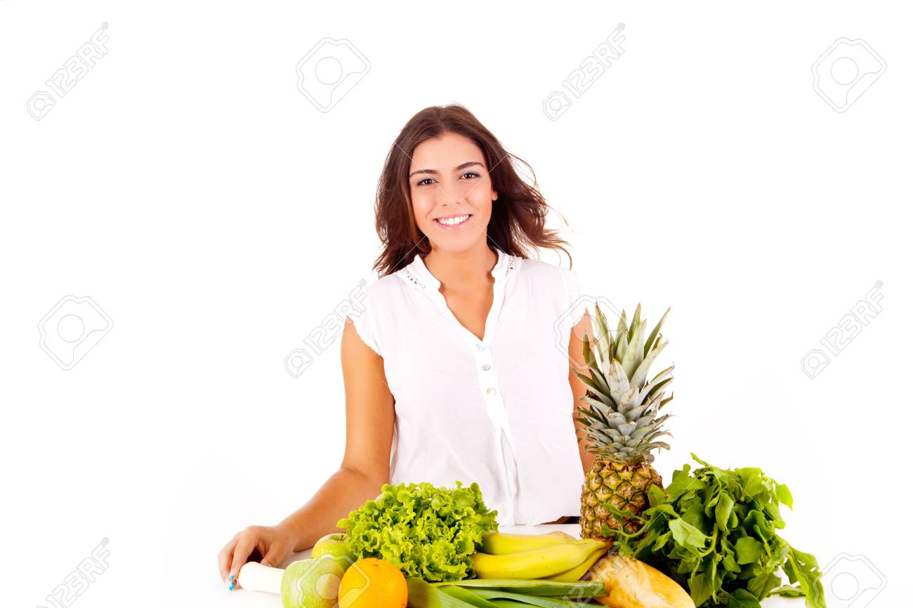 Happy young woman with fruits and vegetables on white background Stock Photo - 17159877