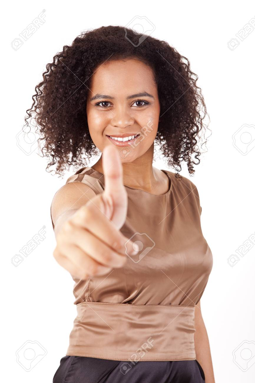 Portrait of young business woman giving  thumbs up on white background Stock Photo - 17160023