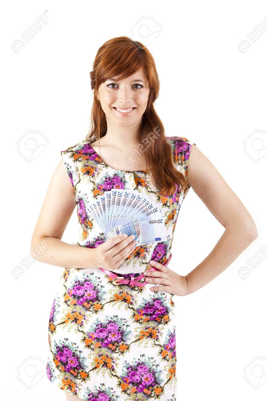 Happy woman showing Euros currency notes on white background Stock Photo - 17160137