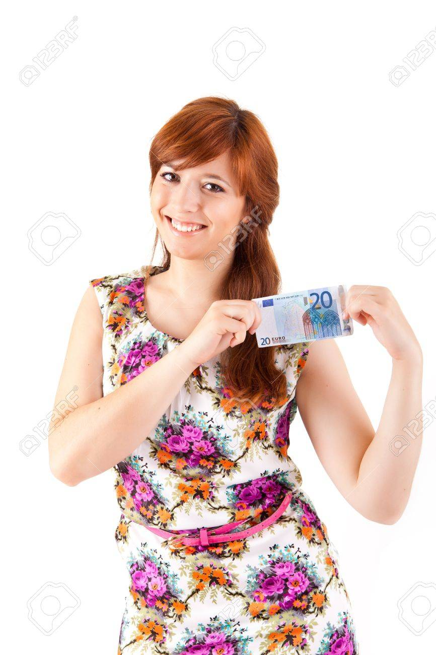 Happy woman showing Euros currency notes on white background Stock Photo - 17243168
