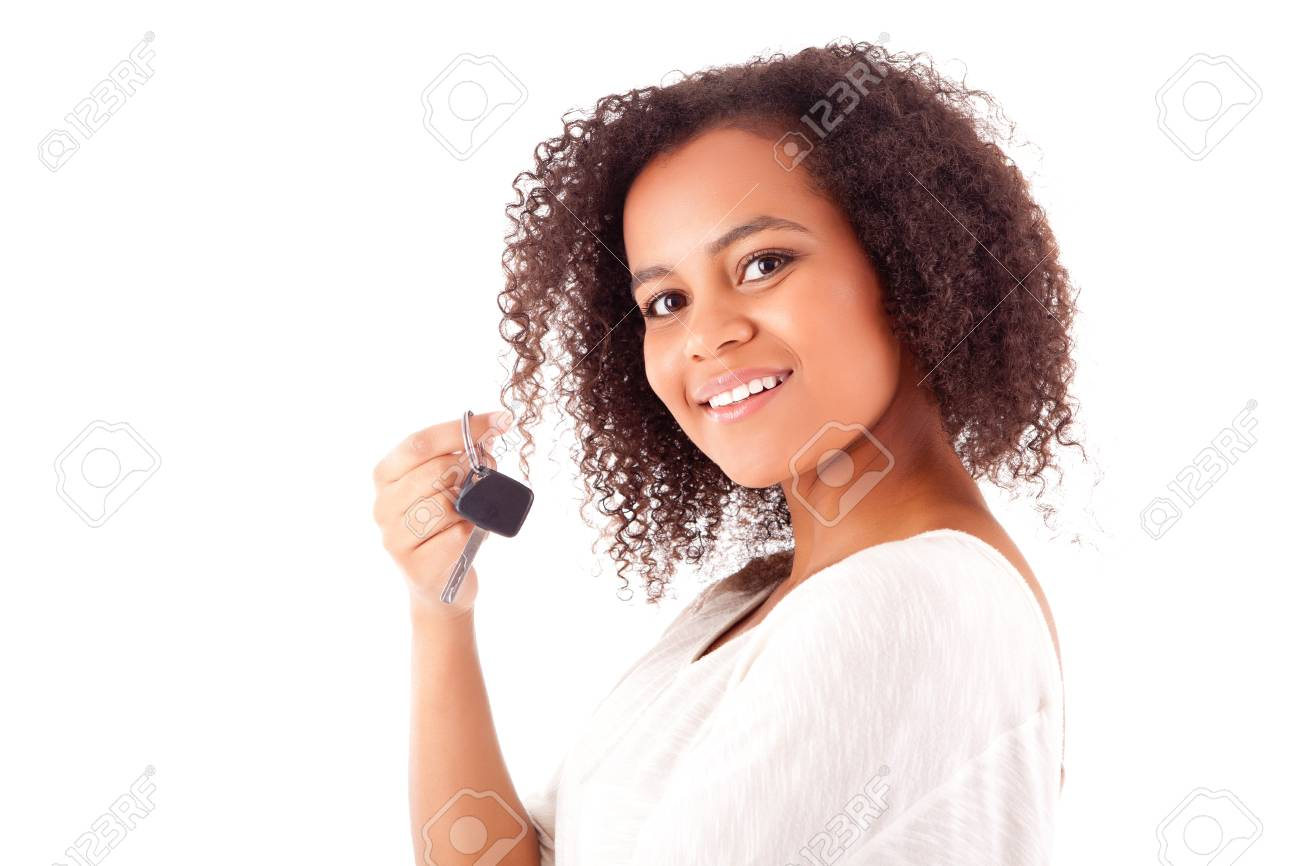 Beautiful african woman holding a car key Stock Photo - 17160088