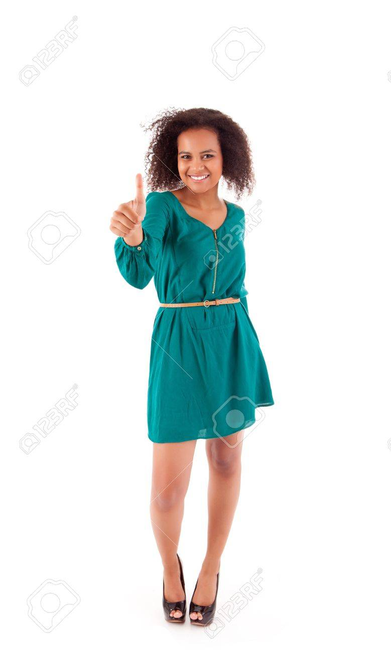 Beautiful african woman showing thumbs up Stock Photo - 17242231