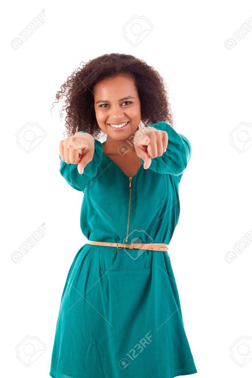 Beautiful african woman pointing front Stock Photo - 17242238