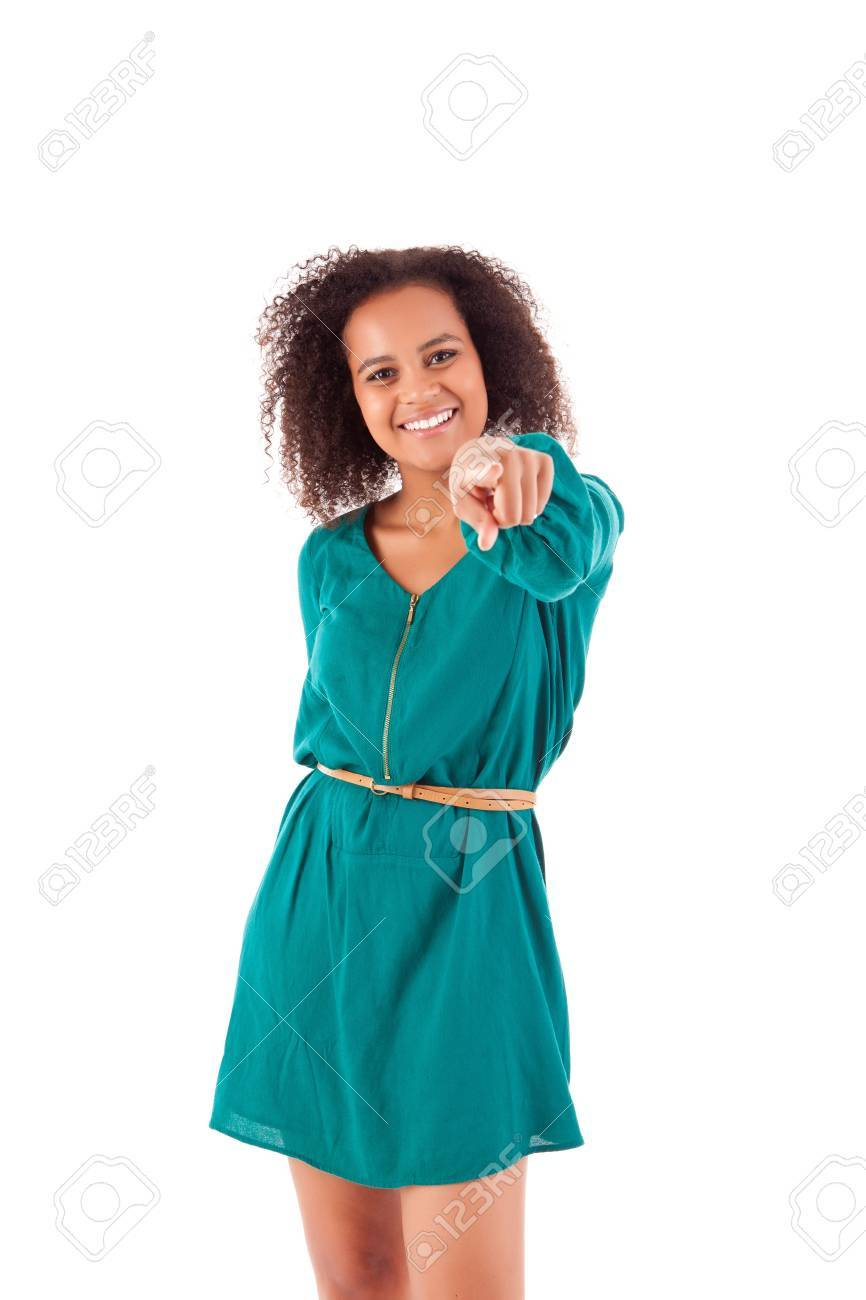 Beautiful african woman pointing front Stock Photo - 17242235