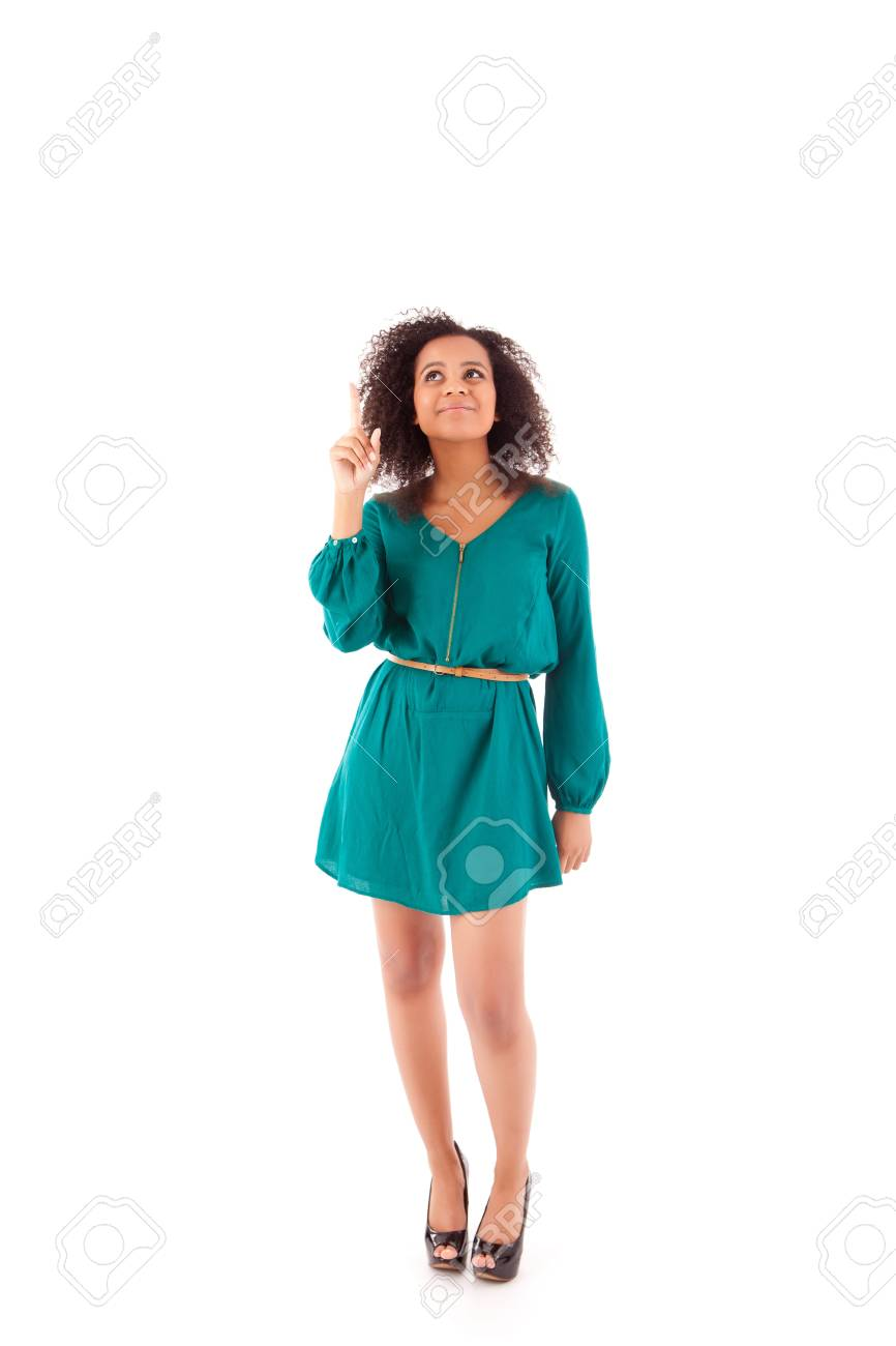Beautiful african woman pointing up Stock Photo - 17242233