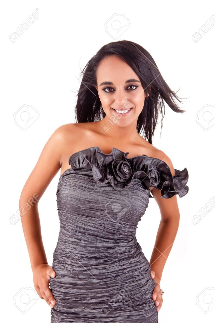 Beautiful ethnic woman posing over white background Stock Photo - 17347592