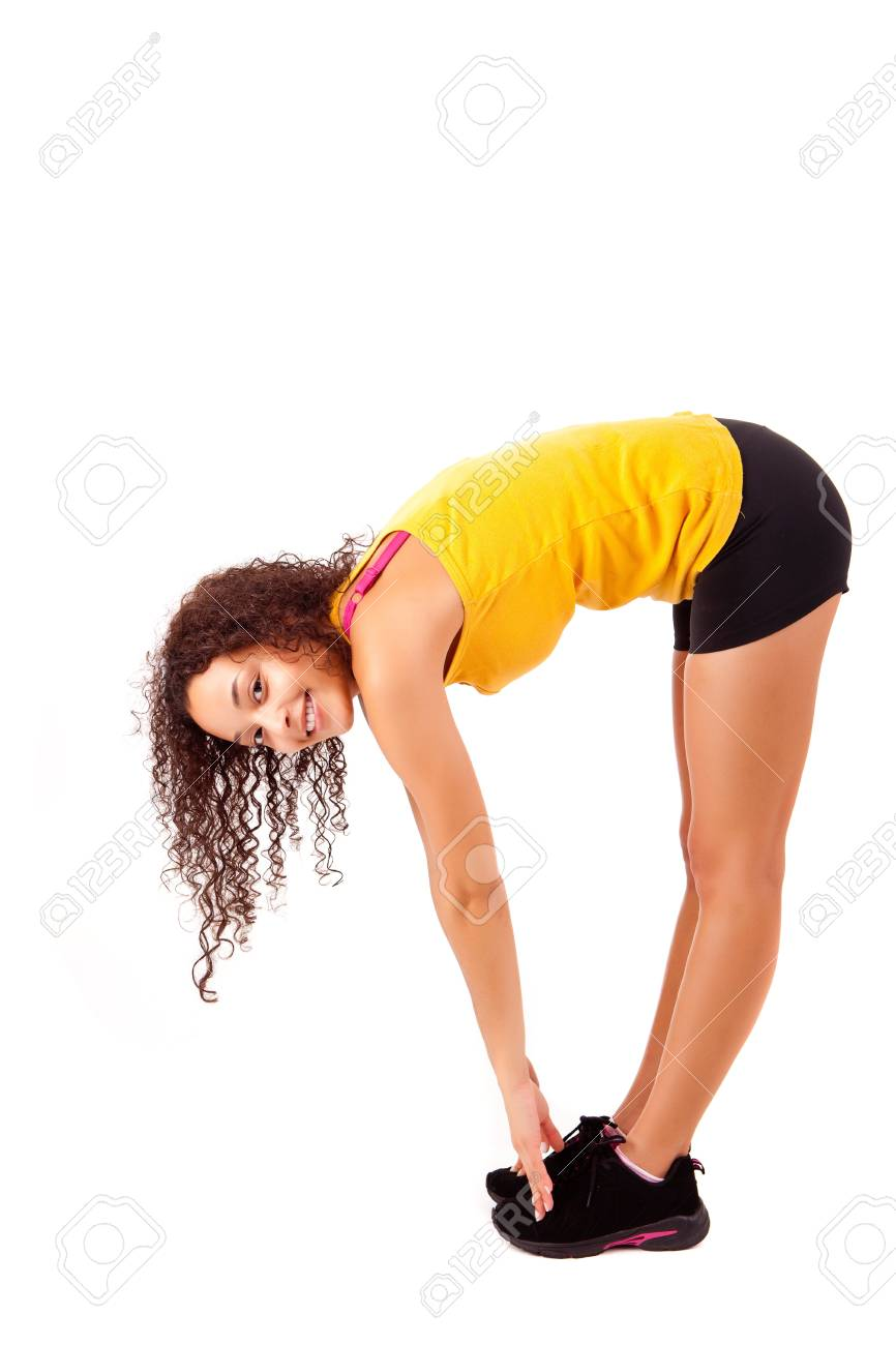 Pretty young african woman doing exercise - Fitness Concept Stock Photo - 17300216