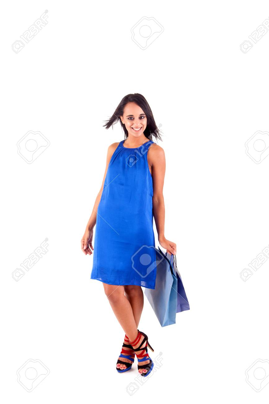 Beautiful woman with shopping bags over white Stock Photo - 17300091