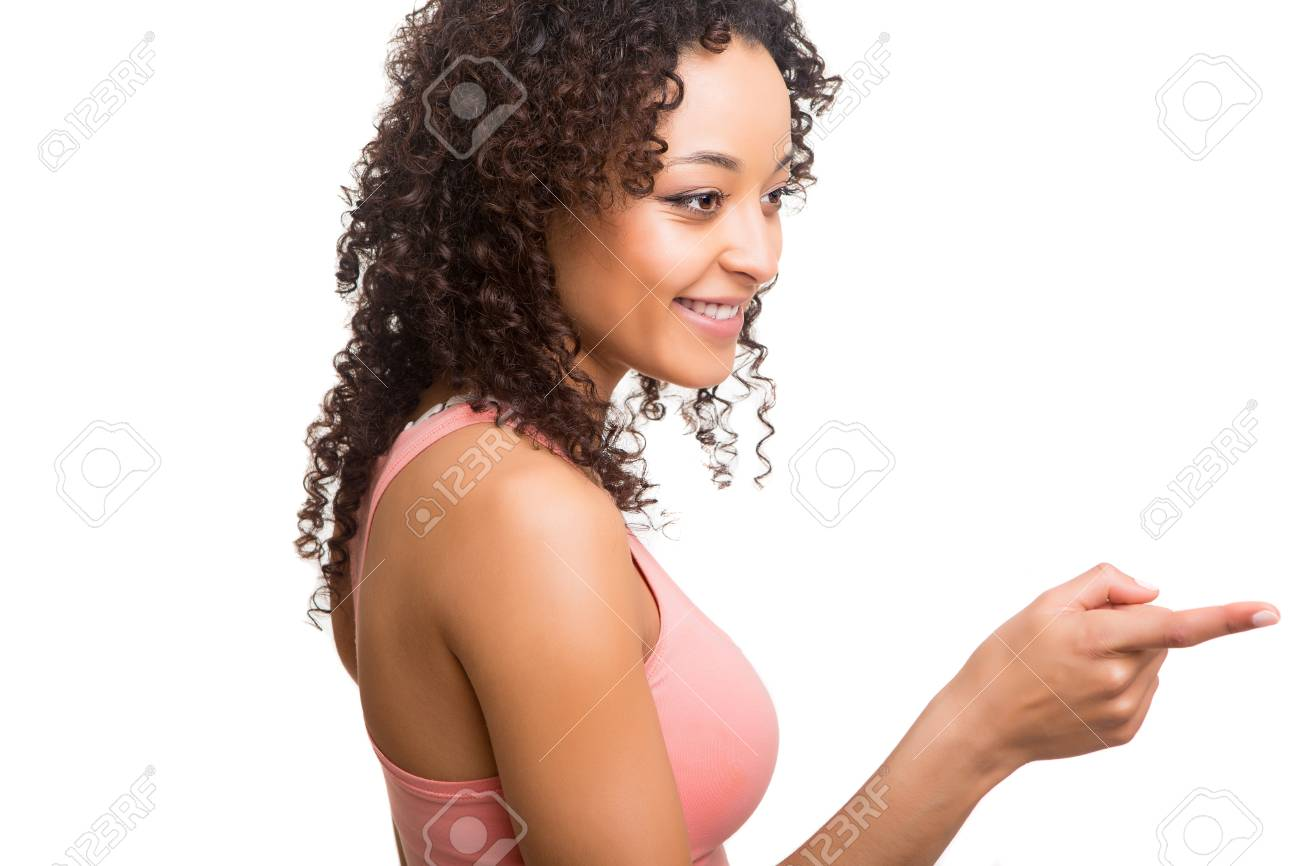 Beautiful afro woman pointing Stock Photo - 19857341
