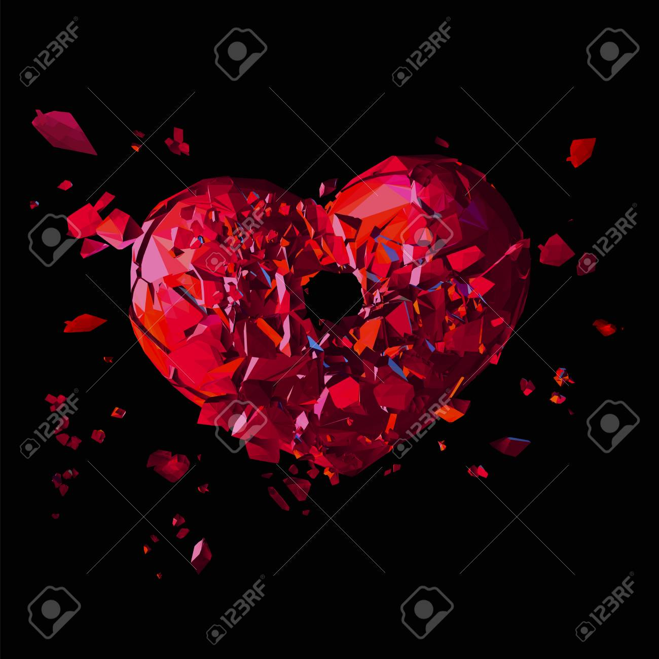 Polygonal Broken Heart With Shot Hole In Action On Dark Background Royalty Free Cliparts Vectors And Stock Illustration Image 71346369