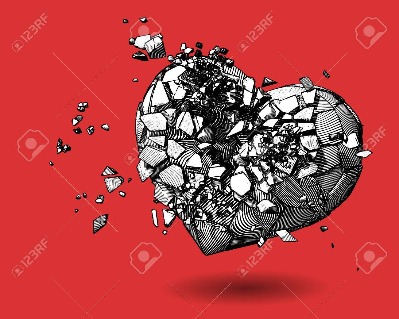 Coeur Brisé Monochrome Avec Stylo Et Encre Dessin Style Illustration