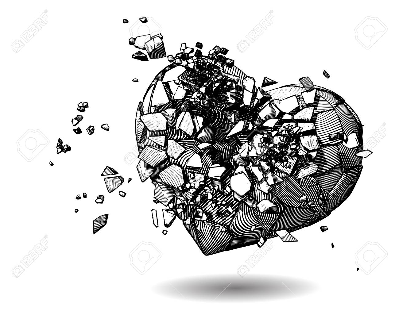 Line Art Illustration Style : Monochrome broken heart with pen and ink drawing illustration