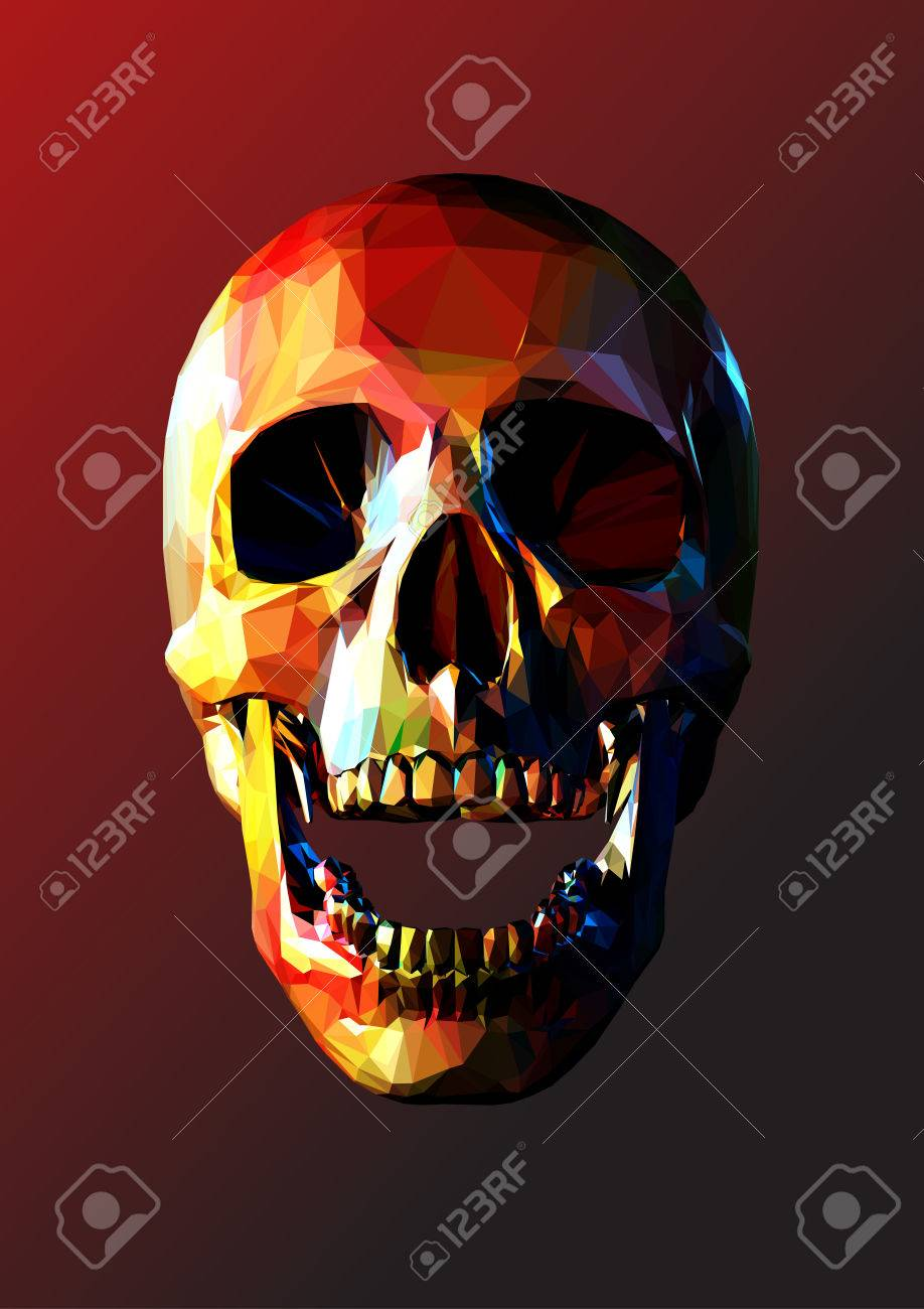 low polygonal skull open jaw with colorful color on dark red background stock vector 73126327