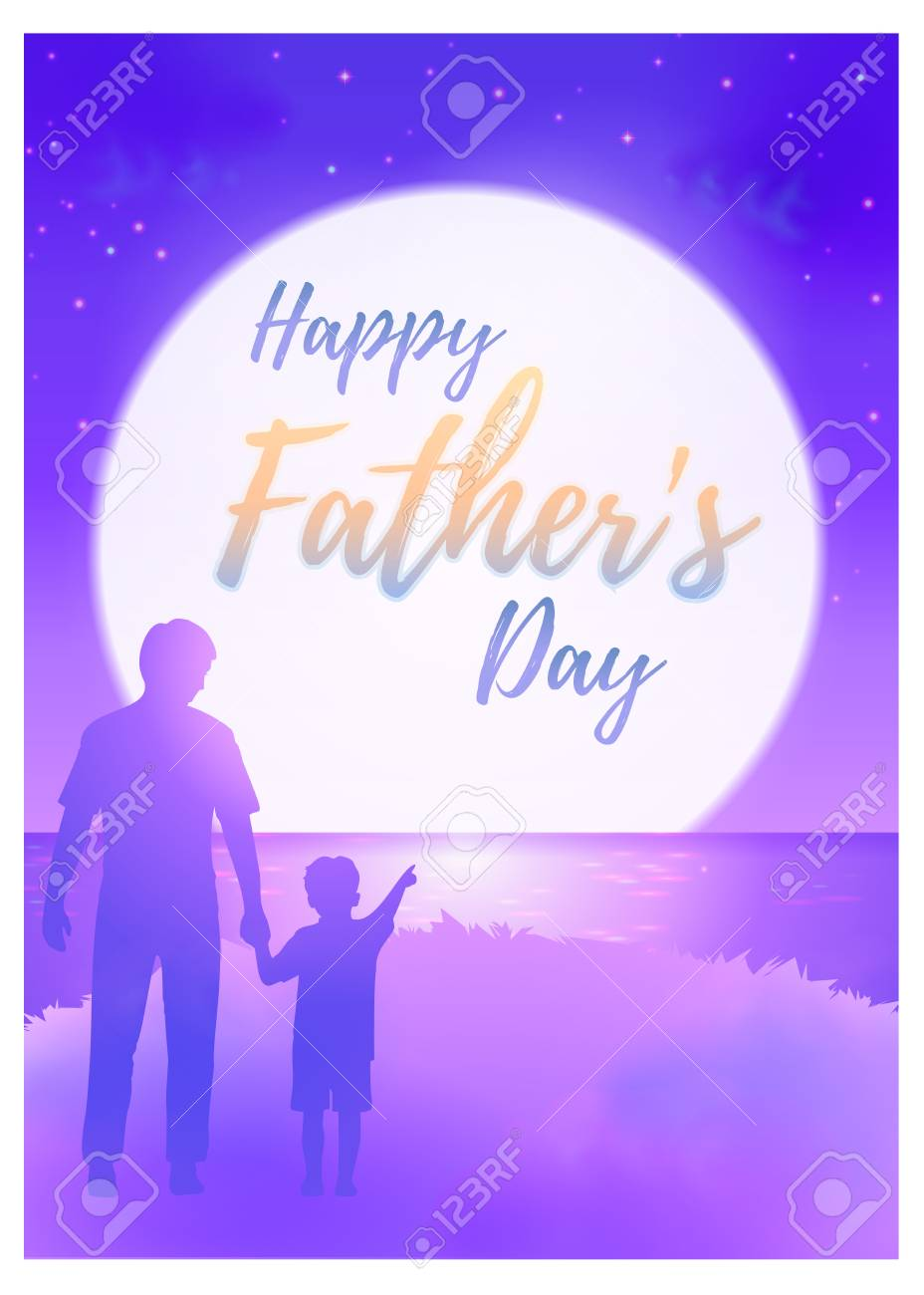 Happy Fathers Day Greeting Card With Calligraphy Text On The