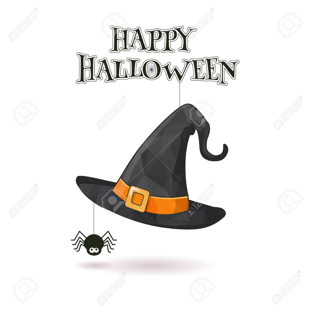 4d95e0801 Witch hat hang with spider spining the web illustration on white..