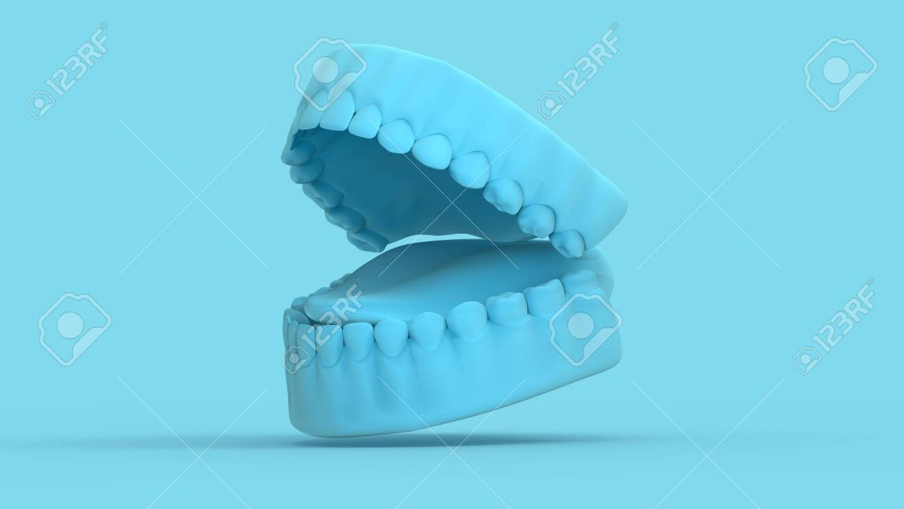 3D rendering tooth and gum open 45 degree perspective view render on pastel blue background - 148011990