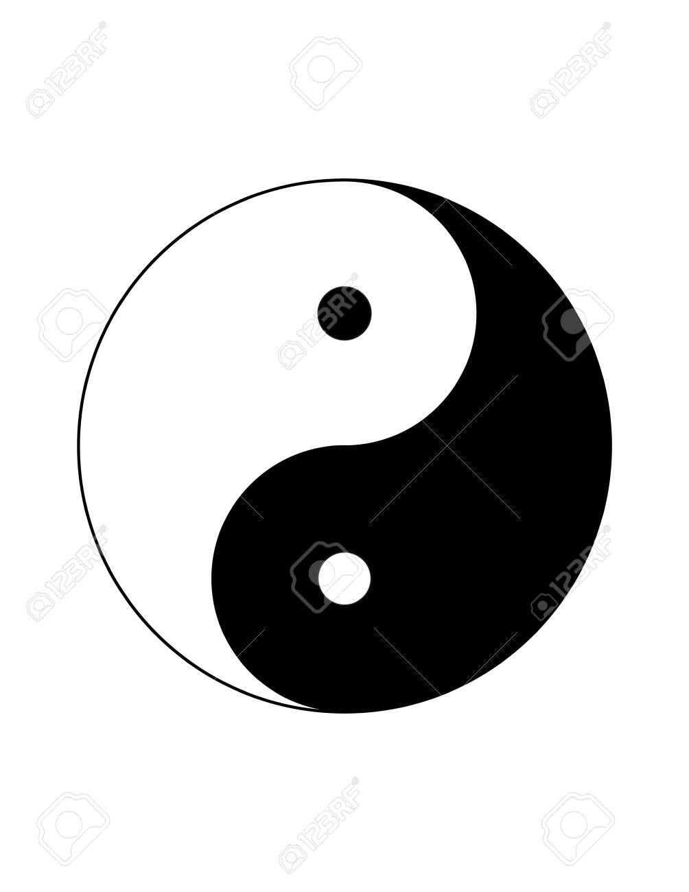 Monochrome black and white Yin Yang chinese symbol isolated on white background - 153023810