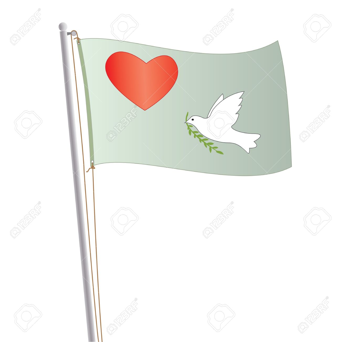 Graphic illustration of love and peace flag with heart and dove in it. Stock Vector - 12136815