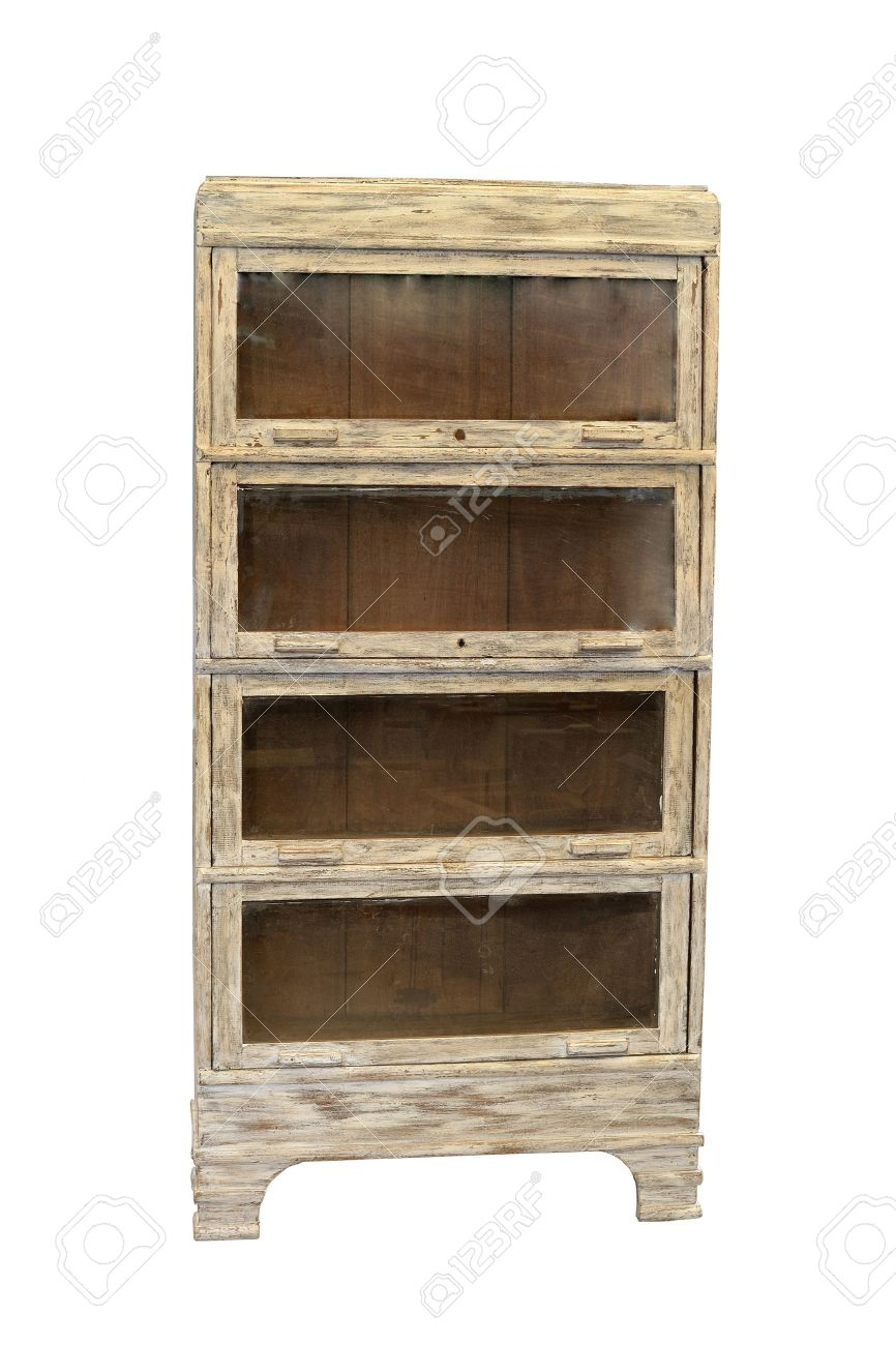 Restored Distressed Antique Bookcase Isolated In White Background