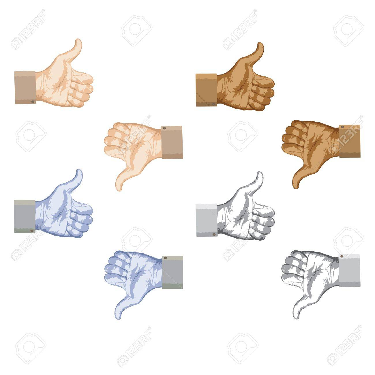 Illustration of thumbs up and thumbs down hand gestures set. Stock Vector - 12744716