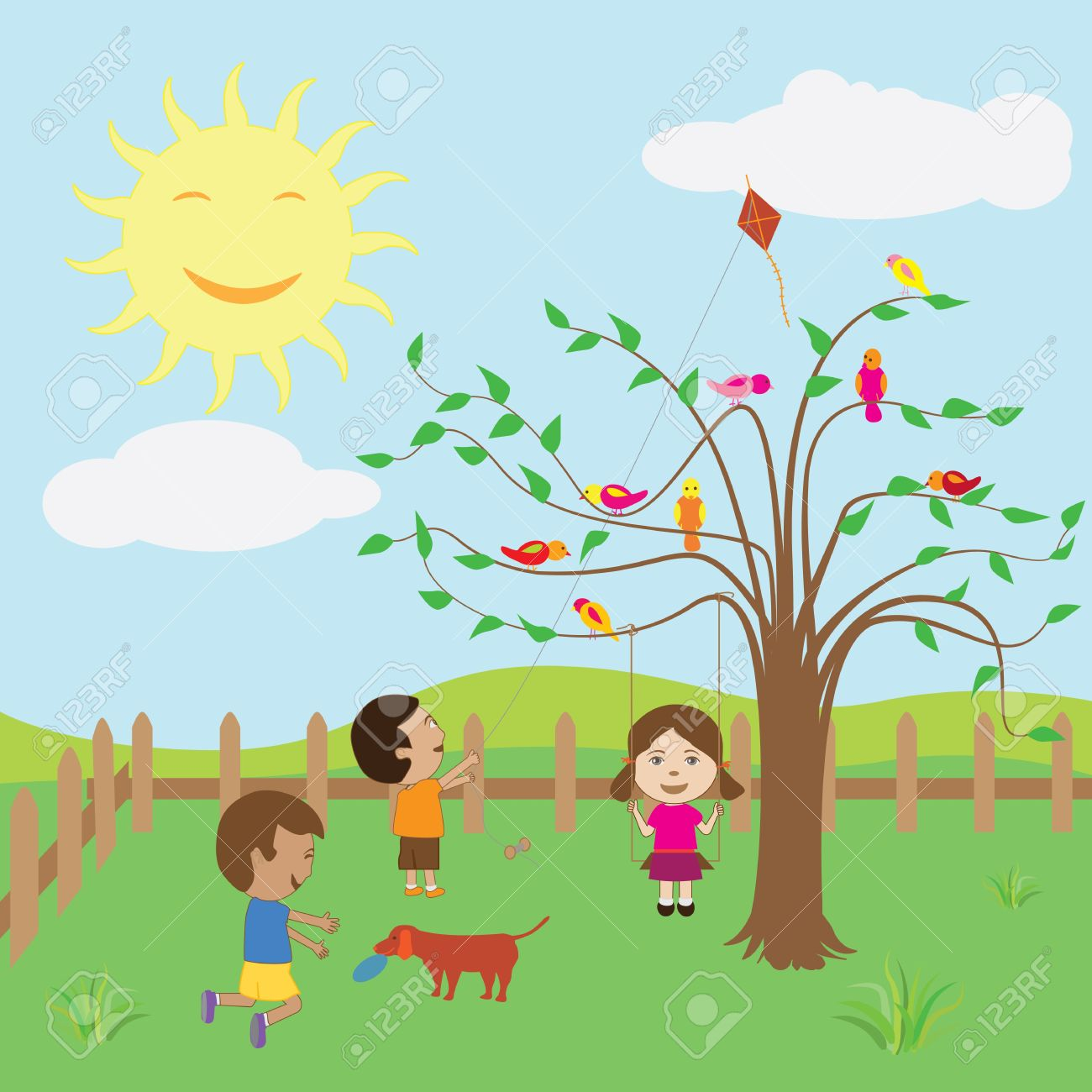 kids enjoying the sunny day at the backyard royalty free cliparts rh 123rf com sunny day clipart black and white sunny day clip art free