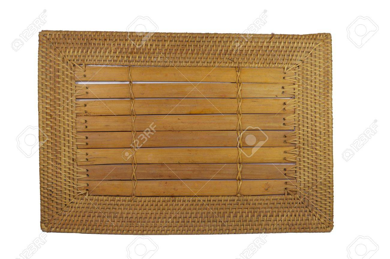closeup image of a bamboo placemat with wooven ratan edge Stock Photo - 13485910