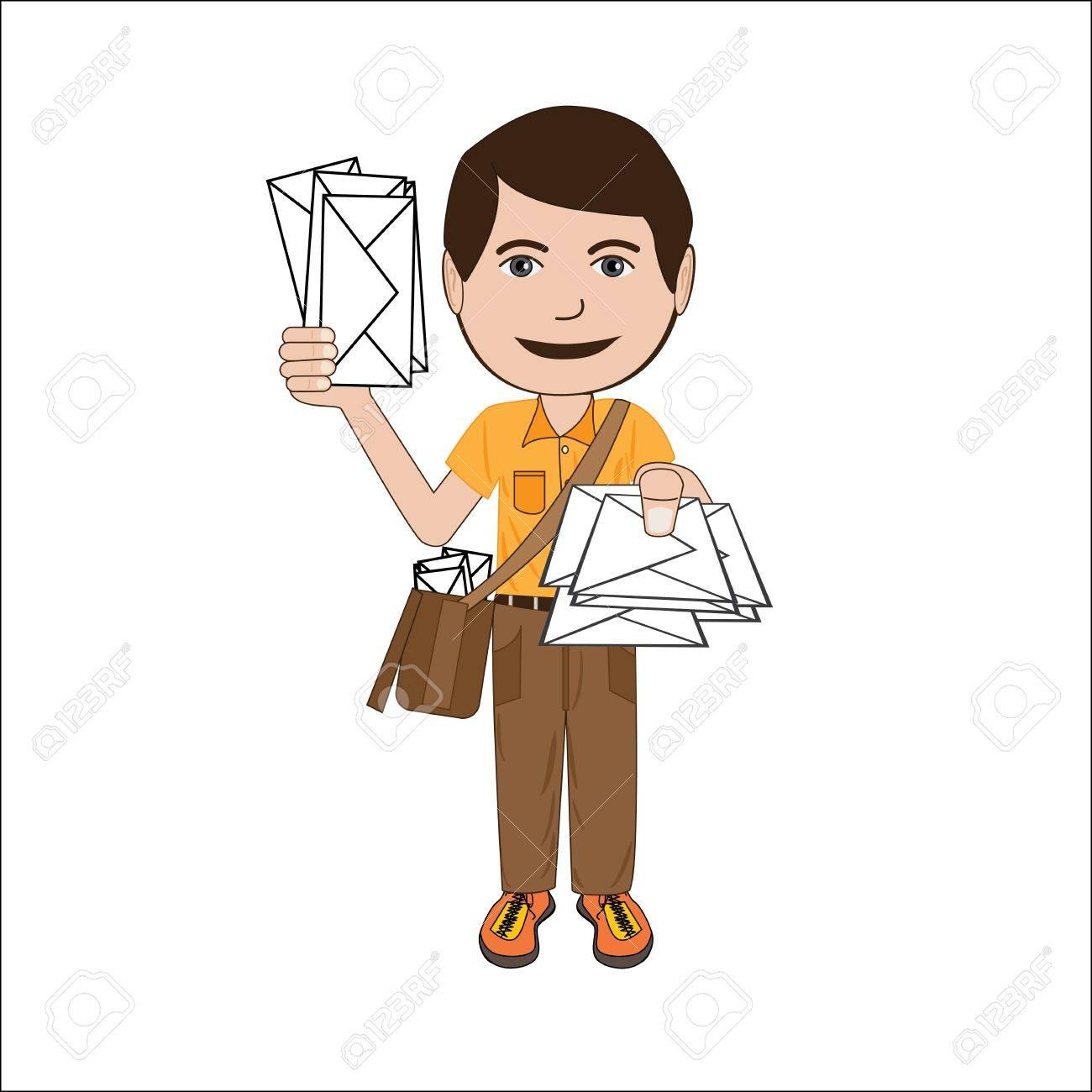 郵便配達員、郵便集配人、白い背景で隔離のイラスト。 ロイヤリティ