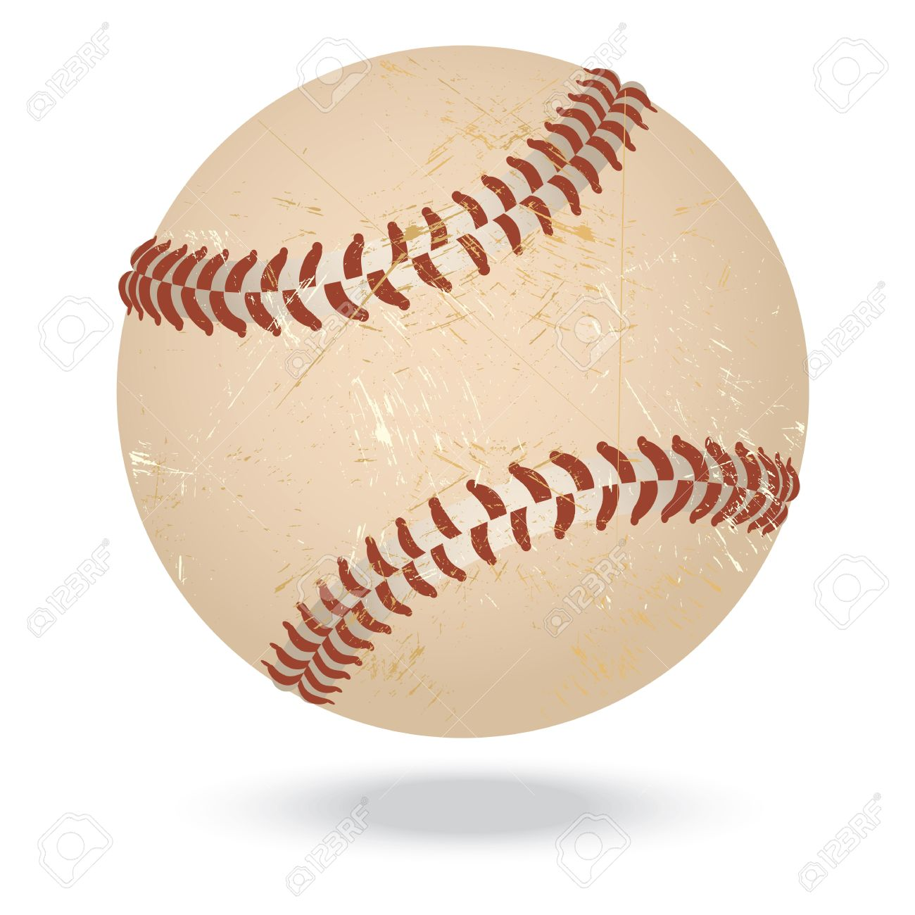 illustration of highly rendered vintage baseball isolated in