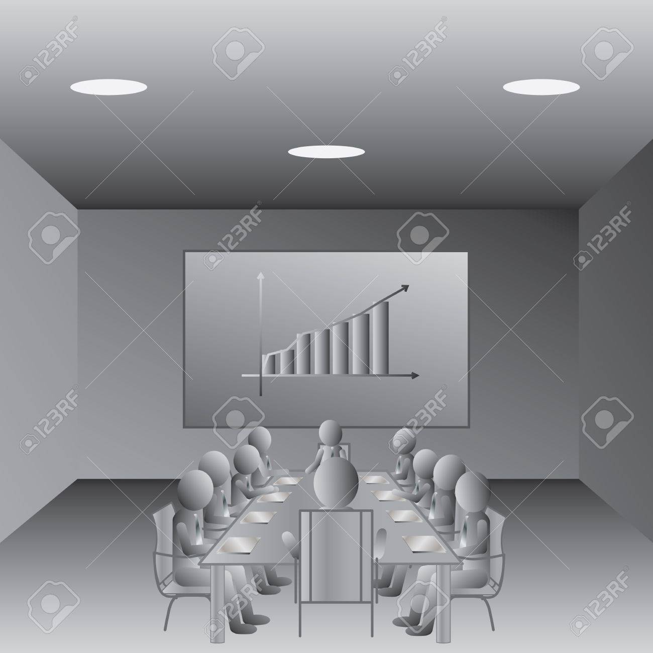 illustration of business people meeting in a conference room - 13774680