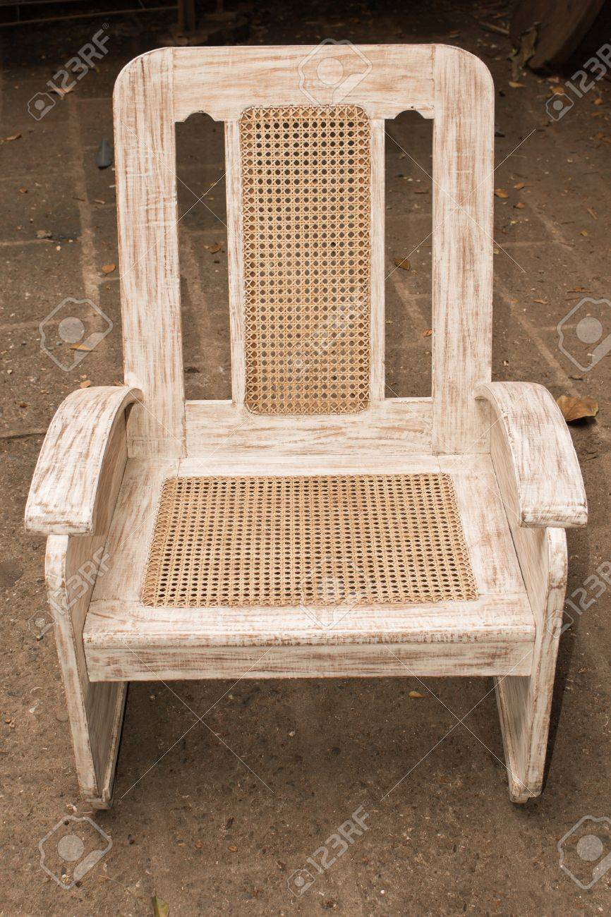 Old Wooden Caned Chair Restored And Repainted. Stock Photo   13859094