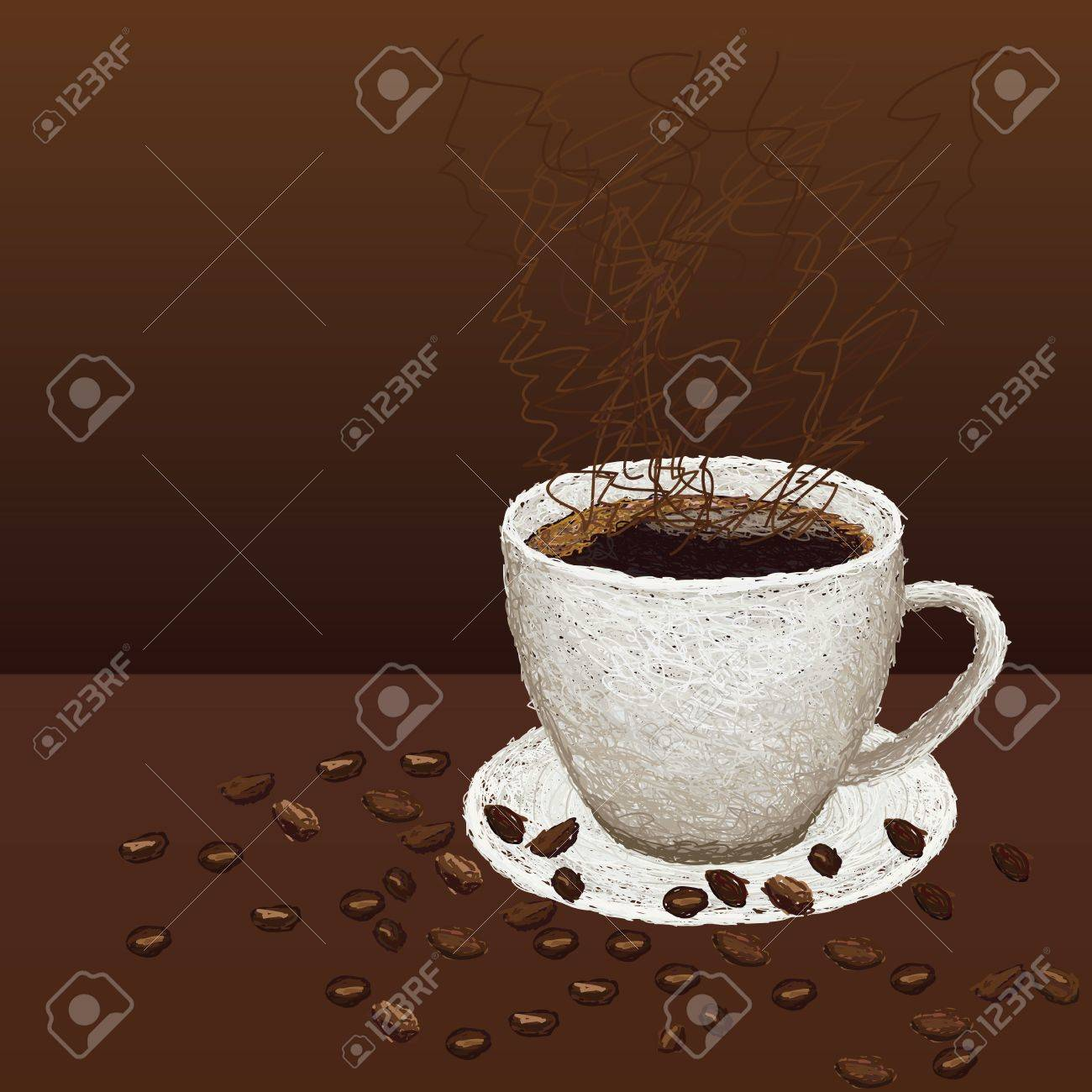 closeup illustration of beans and hot cup of coffee on a plate. Stock Vector - 14407921