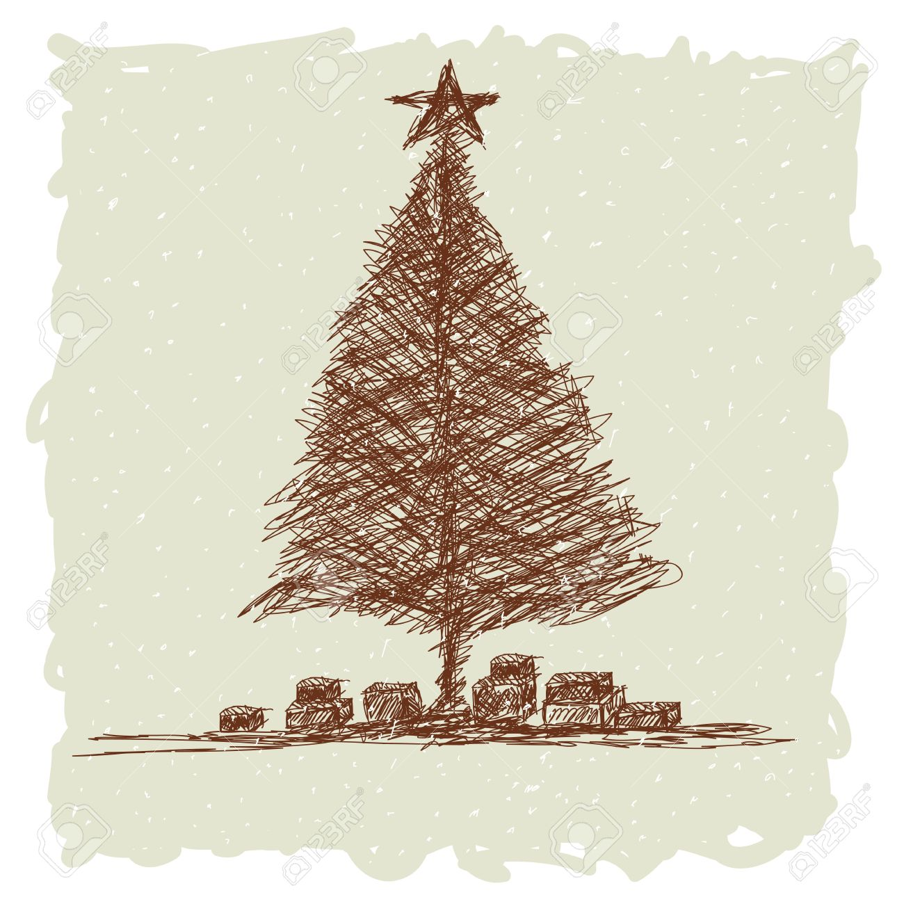 Hand Drawn Illustration Of Vintage Christmas Tree Stock Vector