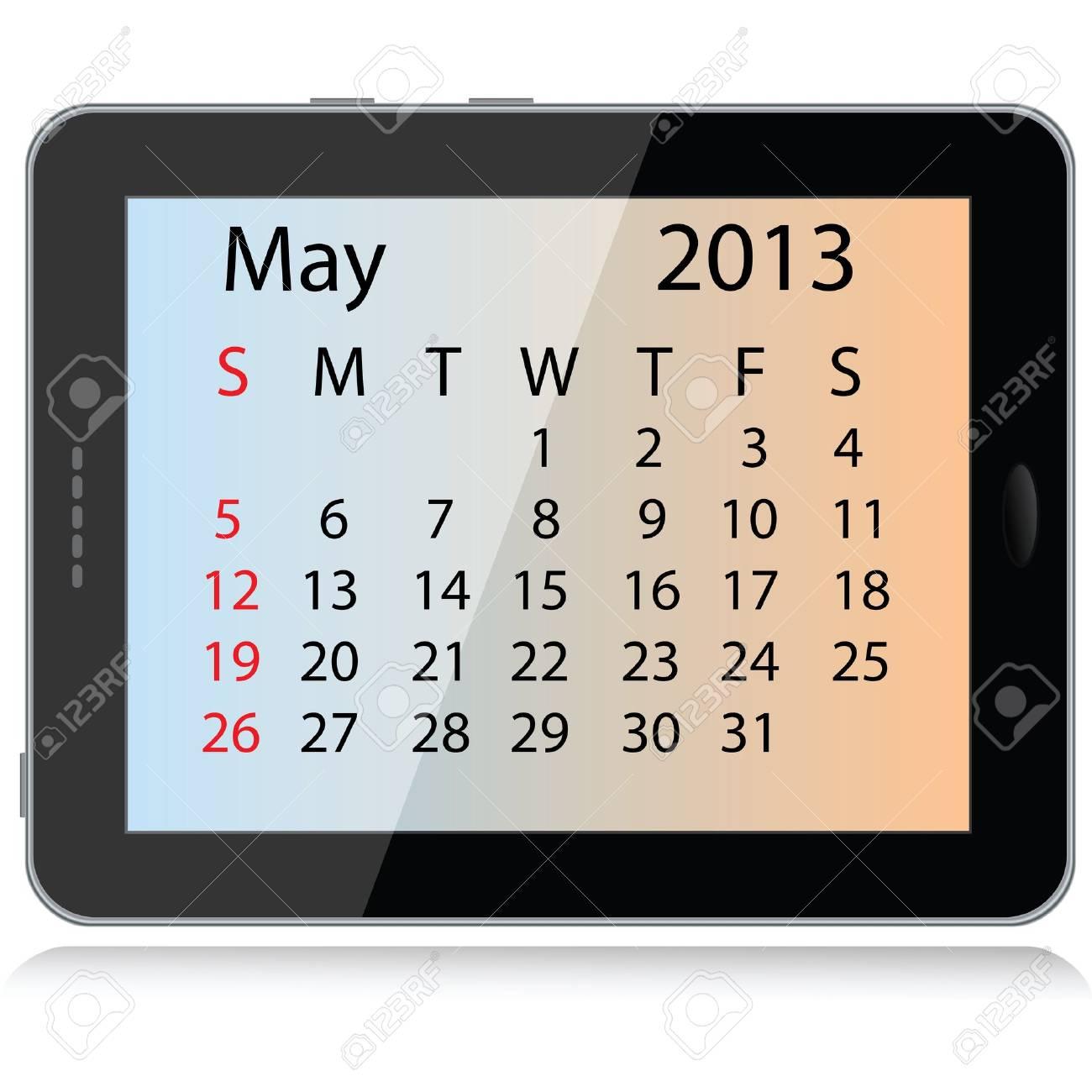 illustration of may 2013 calendar framed in a tablet pc. Stock Vector - 15145804