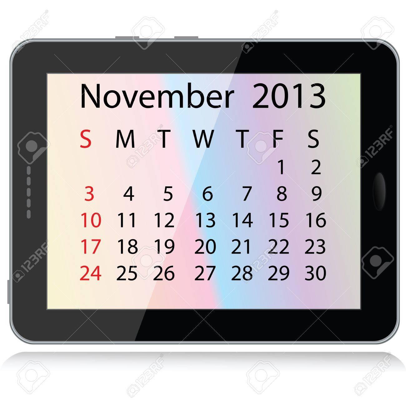 Illustration Of November 2013 Calendar Framed In A Tablet Pc ...