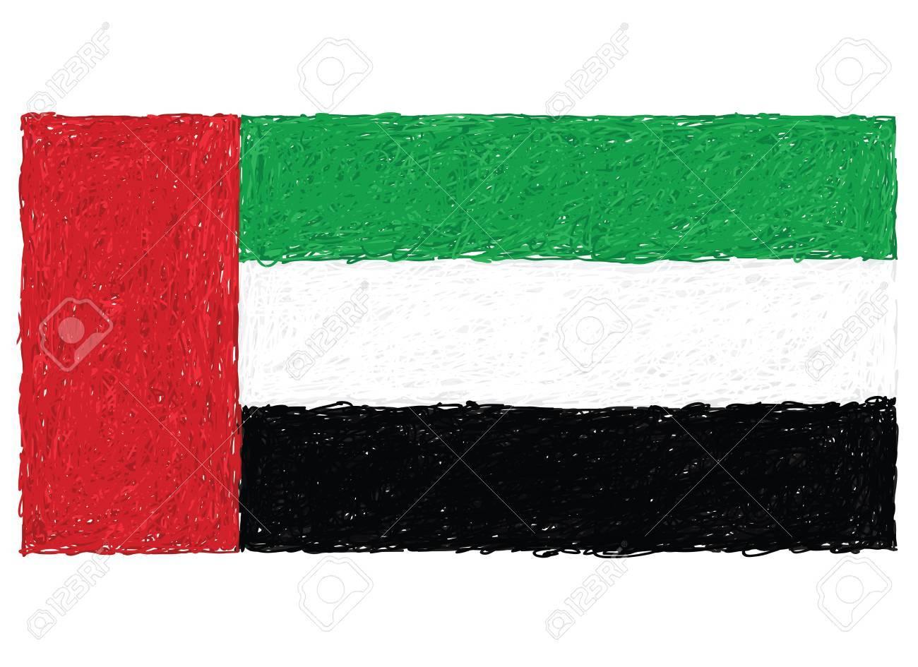 hand drawn illustration of flag of United Arab Emirates Stock Vector - 15444757