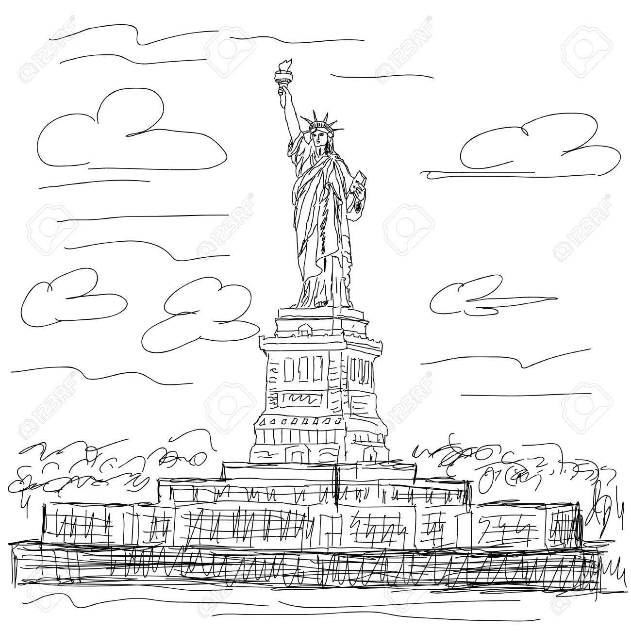 hand drawn illustration of famous tourist destination statue of liberty new york city usa. Stock Vector - 15956047