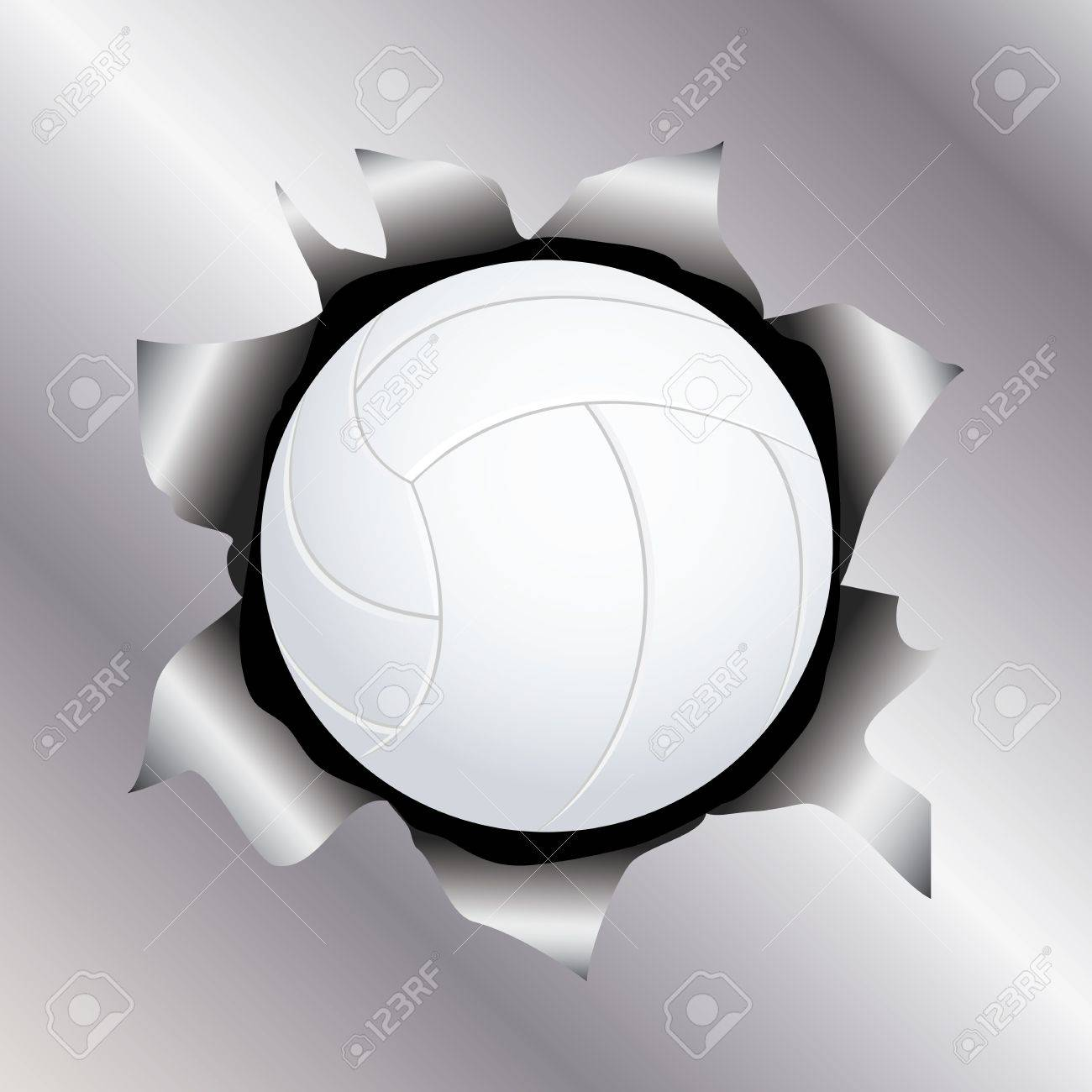 illustration of a volleyball bursting trough a metal sheet effects. Stock Vector - 17852190