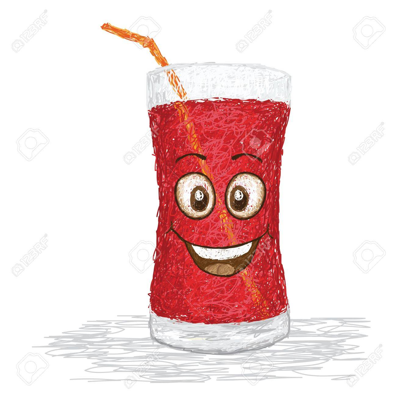 Happy strawberry juice cartoon character smiling royalty free