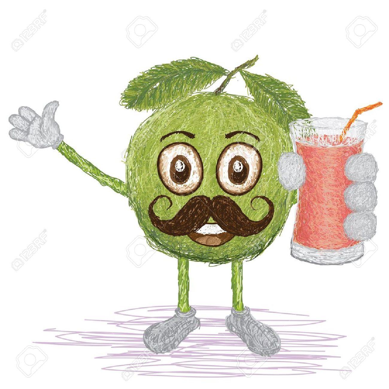 Green Juice Cartoon Happy Cartoon Green Guava